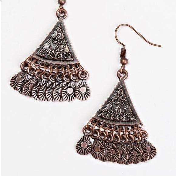Paparazzi Dancing Drylands Copper Earrings NWT
